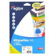 Doos 96 zelfklevende etiketten Agipa 114028 wit 46 x 97 mm laser en inkjet