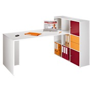 Worktable and biblicase biblioffice 9 compartments white