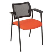Armchair Yota, blue seat back rest in black mesh structure