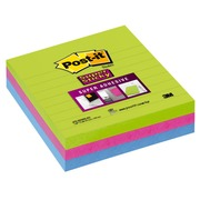 Notes lignées couleurs néon Super Sticky Post-it 101 x 101 mm assortis - bloc de 70 feuilles