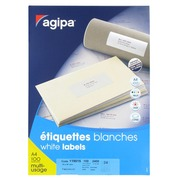 Box of 2400 address labels Agipa 119015 white 70 x 37 mm for laser and inkjet