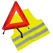 Gilet haute visibilité jaune + triangle de signalisation - Kit
