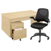 Werkpostpack Axyo B 140 cm + ladeblok Cubo 2 laden + stoel Smoovy zwart