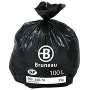 Sac poubelle gris 100 litres NF Bruneau - Colis de 200
