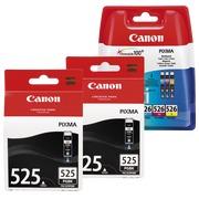 Canon big pack 2x PGI525 + 1 multipack couleur haute capacité pour imprimante jet d'encre