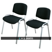 Pack 2 classic meeting chairs with alu undercarriage colour black - 1 paid = 1 identical for free