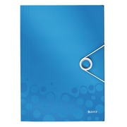 Folder with elastic band 3 flaps Wow Leitz 23.5 x 32 cm back 2,5 cm blue
