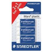 Pack 2 + 1 kleine gommen Mars plastic Staedtler