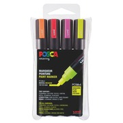 Marqueur Posca couleurs fluo assorties pointe conique 1,8 à 2,5 mm - Boîte de 4