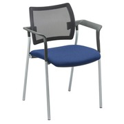 Fauteuil Yota dossier maille pieds alu assise bleue