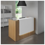 Compact reception desk Jana walnut/white W 166 cm