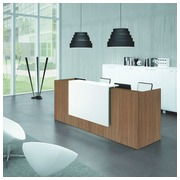 Straight reception desk Jana walnut/white W 246 cm