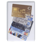 Pak van 10 beschermhoezen - voor bankkaart -PVC 20/100ste - 65x95mm