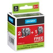 Pak 2 linten polyester Dymo D1 12 mm 45013 wit met zwarte tekst + 1 gratis