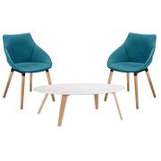 Pack 2 fauteuils Anet blauw en 1 lage tafel Izoa