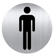 Plaque with pictogram Ø 8 cm 'toilet man' Durable