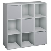 Book case grey alu 6 compartments with 9 doors grey