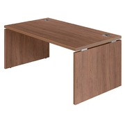 Straight desk Shine B 160 x D 90 cm tabletop walnut full undercarriage in wood