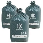 Vuilniszak Bruneau premium grijs 50 liter - Doos van 200 - Promo pack 2 + 1 gratis