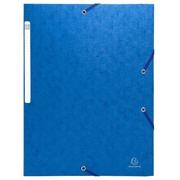 Chemise à élastiques sans rabat - carte lustrée gaufrée Scotten 600g/m2- A4 - Bleu (5592E)