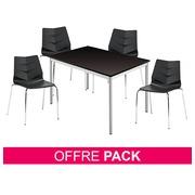 Pack Klass One noir - 1 table rectangulaire + 4 chaises