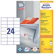 Avery Zweckform 3474 étiquettes multi-usages ft 70 x 37 mm (b x h), 2.400 étiquettes, blanc