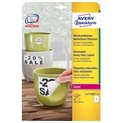 Avery afneembare weerbestendige etiketten ft 210 x 297 mm (b x h), wit, doos van 20 etiketten