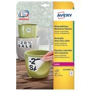 Avery afneembare weerbestendige etiketten Ft 99,1 x 42,3 mm (b x h), wit, doos van 240 etiketten