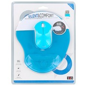 Pack wireless mouse with silent click and ergonomic mousepad - blue