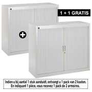 Pack armoires à rideaux Bruneau H 100 cm alu/aluminium - 1 achetée = 1 offerte de même coloris