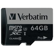 Verbatim PRO - carte mémoire flash - 64 Go - microSDXC UHS-I