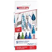 Edding feute textile 4500, set de 5 pièces en couleurs assorties froides