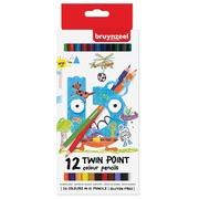 Bruynzeel Kids crayons de couleur Twin Point,  set de 12 pièces en couleurs assorties