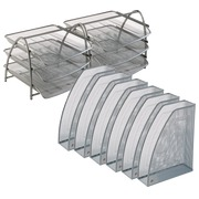 Pack 2 mail boxes + 6 magazine holders Alba Mesh grey