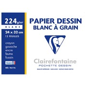 Sleeve 12 sheets of drawing-paper white A4+ Clairefontaine grained 224 g