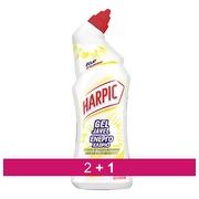Pack 2 + 1 Gel WC Harpic javel triple action citron-pamplemousse - Flacon de 750 ml