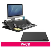 Pack ergonomie station de travail assis-debout noir et tapis anti-fatigue Fellowes