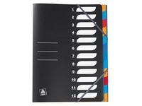 Register aus Plastik Elba mit 12 Unterteilungen A4 - Schwarz
