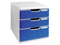 Schubladenbox mit 3 blauen Schubladen