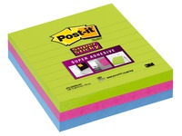 Lined notes Post-it Super Sticky 101 x 101 mm assorted neon colours - Block of 70 sheets