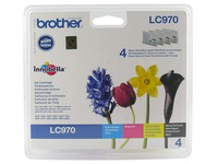 Pack 4 cartridges Brother LC970 zwart, cyaan, magenta en geel