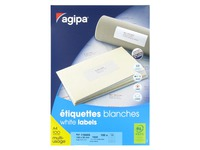 Box of 1600 address labels Agipa 119005 white 105 x 35 mm for laser and inkjet