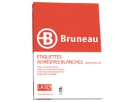 Box of 3200 address labels Bruneau white 105 x 37 mm for laser printer