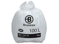 Sac poubelle blanc NF Bruneau qualité standard 100 litres - Colis de 200