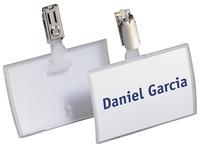 Badge Durable Clickfold à clip 54 x 90 mm - Boîte de 25