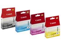 Pack von 4 Cartridges Canon CLI-8 Schwarz + Farbig