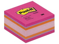 Bloc cube couleurs plaisir Post-It 76 x 76 mm - bloc de 450 feuilles.