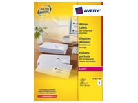 Box of 1400 address labels Avery L 7163 white 99,1 x 38,1 mm for laser printer