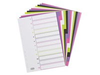 Neutral multicoloured dividers A4 Elba My Colour plastic 12 tabs