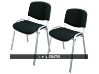 Pack 2 klassieke vergaderstoelen met aluminium onderstel kleur zwart - 1 kopen = 1 gratis